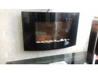 Wall hanging glass fronted electric fire