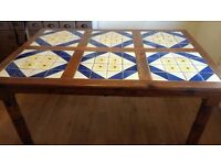 Solid antique pine tiled dining table