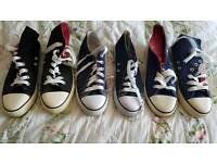 3 pairs of canvas boots/shoes