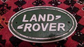 Landrover vintage cast metal sign. Rare collector's automilia