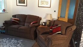 Lovely three piece suite offered in comfortable soft textured chenille in excellent clean condition