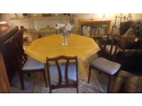 Solid octagonal dining table four newly upholstered chairs £65 Delivery EXTRA Stalybridge SK15 3DN