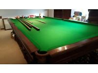 Full size slate Burroughes and Watts Walnut 1928 Snooker Table