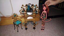 Monster high doll and dresser