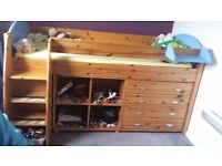 SINGLE PIN WOOD BUNK BED+3 CABINS INCLUDED+MATTRESS