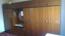 Vintage wardrobe and chest of draws