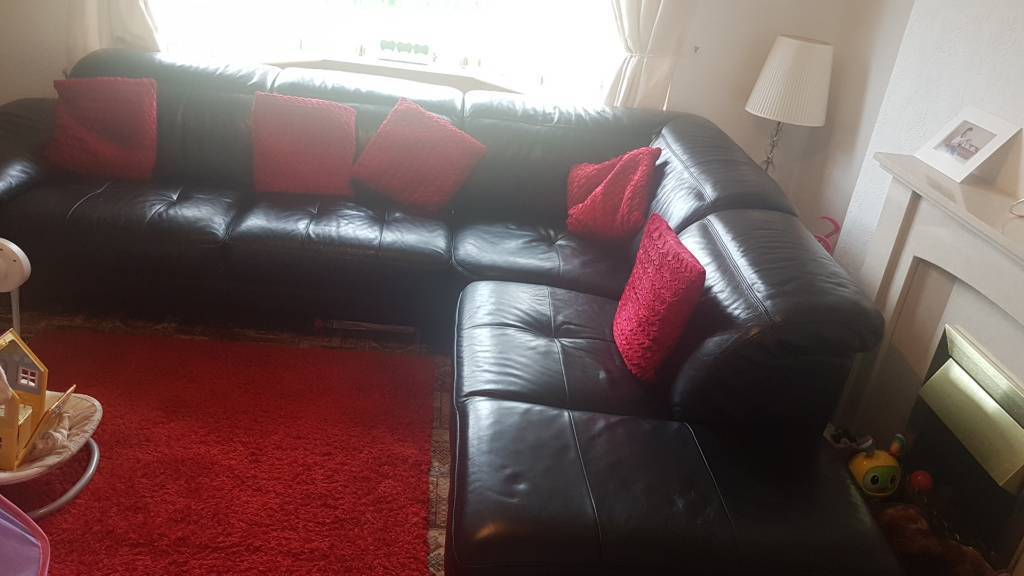Black Italian Leather Corner Sofa Reclining Head And