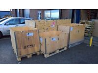Several Wooden Crates Europallet Size Various Heights