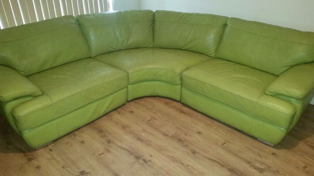 Lime Green Leather Corner Sofa, Optional Large Matching