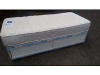 Single bed , with fantastic mattress quick FREE delivery . Super comfortable, quality. Very clean