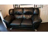 Black large 2 setter leather sofa
