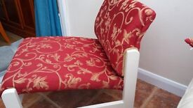 Comfortable Occasional Chair/suit Bedroom,Conservatory or Lounge. Recovered in a Red material