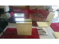 Fu-nicha Athens Marble dining table, 6 chairs, coffee table and 2 console tables (all second hand)