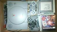 VINTAGE ORIGINAL PLAYSTATION- with mod & Games and controllers