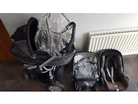 Quinny Buzz Travel System; 3 wheel pushchair, carrycot and car seat plus extras