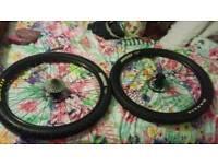 Two 27.5 mounting bike wheels.