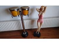 FABULOUS PAIR SIAM OAK NATAL SPIRIT BONGOS DRUMS HEAVY CHROME STAND MAN CAVE GAMES ROOM USE DISPLAY