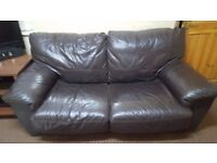 Brown 2 Seater Leather Sofa Bed