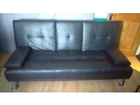 """Modern """"Cinema"""" Faux Leather 3 Seater Sofa Bed With Fold Down Drinks Table - Black"""