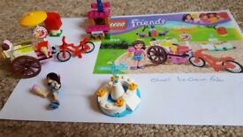 4 Lego Friends Sets Ice cream Bike, Bakery, Lifeguard Post and Splash Pool