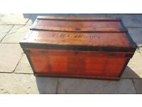 Vintage Industrial Marshall shipping trunk/box dated 1917 - fantastic coffee table