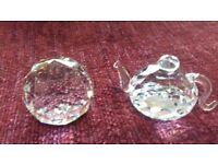Swarovski Crystal Teapot plus Round Ball Paperweight Ornaments