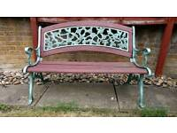 Wrought iron & wood garden bench