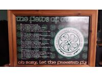 """The Fields of Athenry"" Framed Poster. Celtic Football Club"