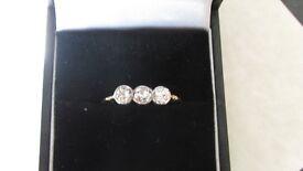 18 carat 3 stone victorian diamond ring