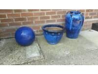 Used cobalt blue garden items