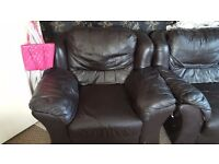3 piece sofa and 1 armchair leather