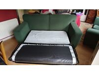 Green 3 seater sofa bed and matching 2 seater sofa