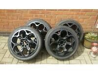 "17"" wolfrace bushido alloy wheels with tyres"