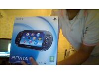 ps vita with case + 14 to 15 games 7 on cart and about 6 that were downloaded on it. ASAP