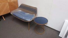 John Lewis Havana 2 Seater Sofa & Side Table Brown /Brass/ Blue