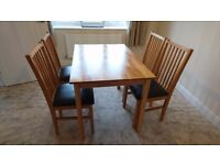 Dining Table & 4 Leather Cushioned Chairs