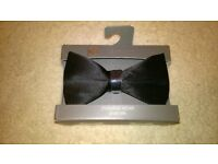 BRAND NEW: Still Boxed Pure Silk Black Bow Tie (RRP £12.50)