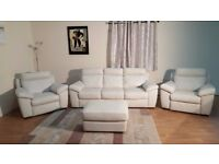 Natuzzi Andria cream leather 3 seater sofa and 2 electric recliner armchairs
