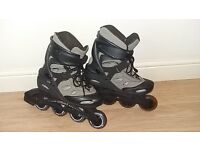 Roller blades (adult size 4/5), knee hand and elbow pads and a helmet.