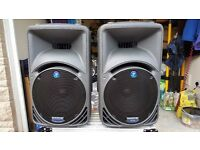 PAIR OF MACKIE ACTIVE SRM 450 SPEAKERS WITH MACKIE PADDED GIG BAGS IN PRISTINE CONDITION