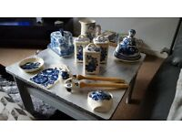 Polish blue and white pottery + 2 others