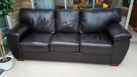 Leather Sofa, 3 Seater Genuine LazyBoy, Dark Brown