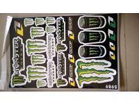 ## MONSTER ENERGY STICKER SHEET A3 26 GOOD QUALITY STICKERS (CR RMZ YZ KXF PITBIKE QUAD BIKE DECOR)