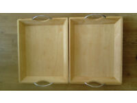 2 Solid Wooden Trays