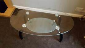 Glass/ silver/ black coffee table