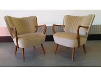 Pair of Vintage Retro Cocktail Armchairs Chairs Design Mid Century