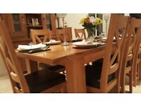 Extendable Dining Table Solid Reclaimed Oak Seats 8-12 Excellent Condition