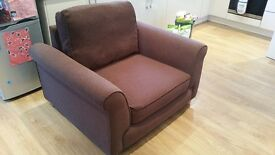 Large chocolate brown arm chair