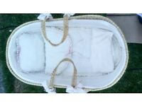 Baby Moses basket excellent condition handmade interior