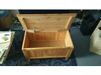 Pine chest on legs, soft close hinges